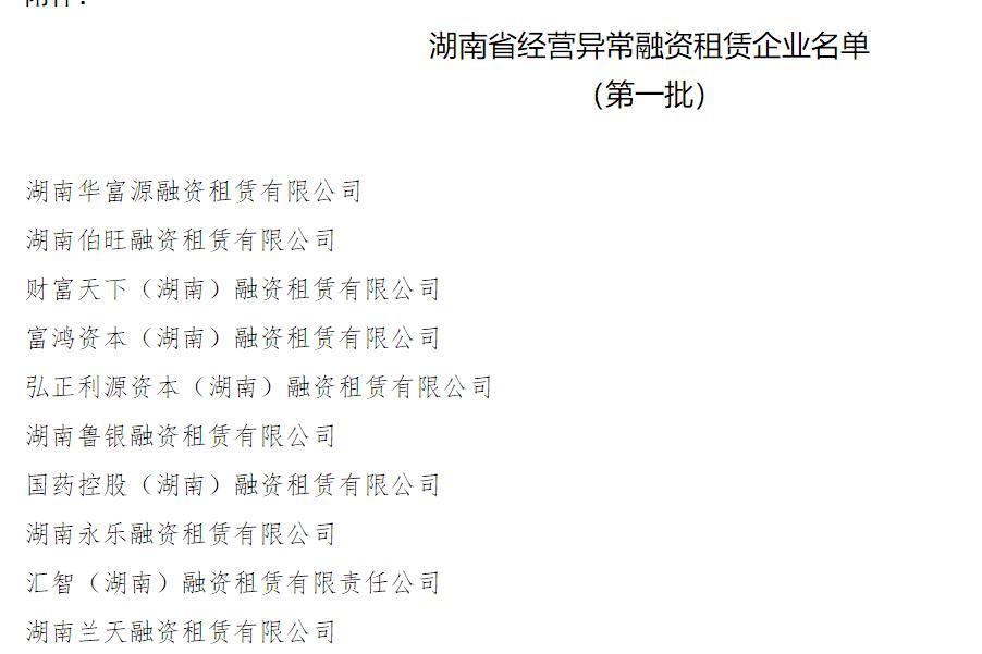 湖南公布10家融资租赁和12家商业保理企业经营异常名单